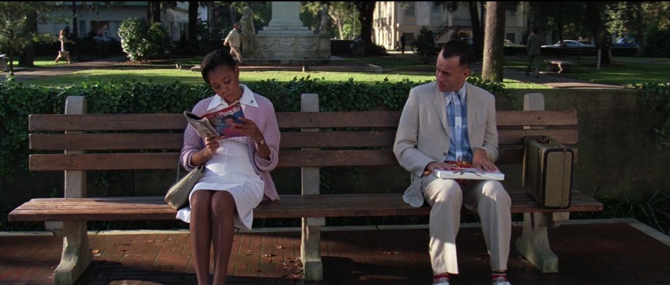 バス停のベンチで主人公が人生を語る